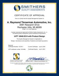 Certificate IATF 16949 2021 - supporting ARCNA (Rochester) EN